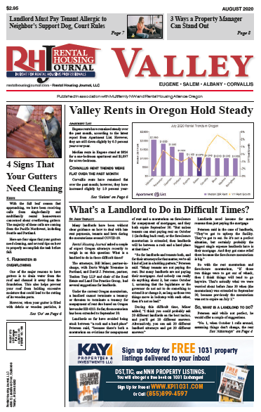 Rental Housing Journal Oregon Valley August 2020