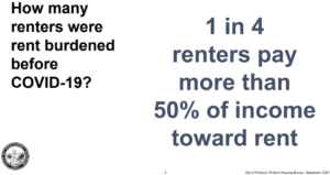 renters pay 50 percent of income toward rent requiring tenant relocation help if rents rise in Portland