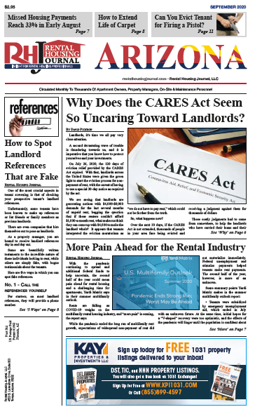 Arizona Rental Housing Journal September 2020 helpful useful information for landlords and property managers