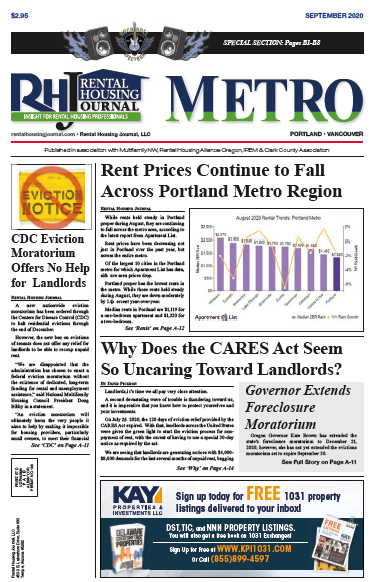 Rental Housing Journal Oregon Metro September 2020 the Spectrum Trade Show issue with helpful, useful information for landlords and property managers