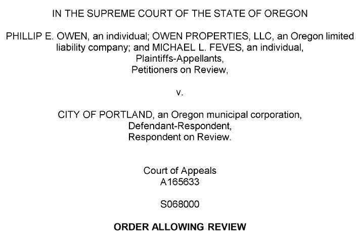 Portland relocation ordinance review Oregon Supreme Court