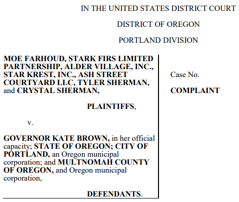 Oregon Landlords File Federal Lawsuit Against State, City and County