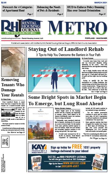 Rental Housing Journal Oregon Metro Portland and Valley