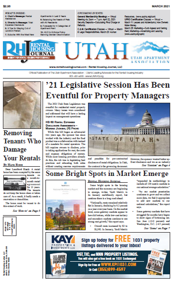 Utah Rental Housing Journal March 2021 in association with the Utah Apartment Association