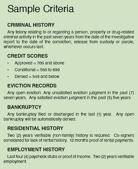 rental criteria for use with tenants