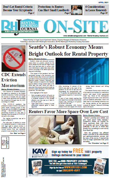 Seattle Metro On-Site Rental Housing Journal April 2021 Puget Sound Edition