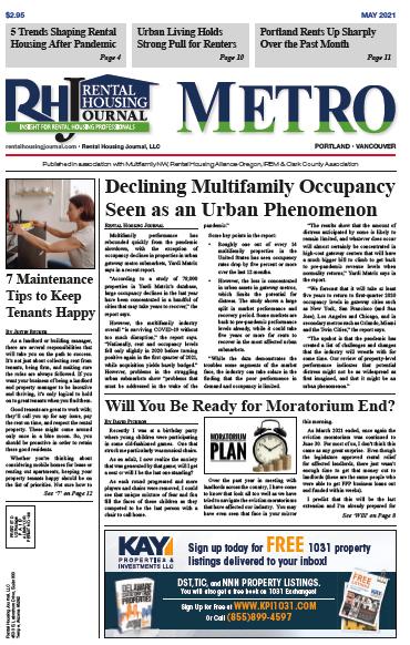 Portland Metro Rental Housing Journal Oregon May 2021