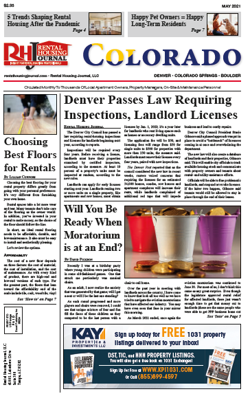 Colorado Rental Housing Journal May 2021Denver passes law requiring rental property inspections