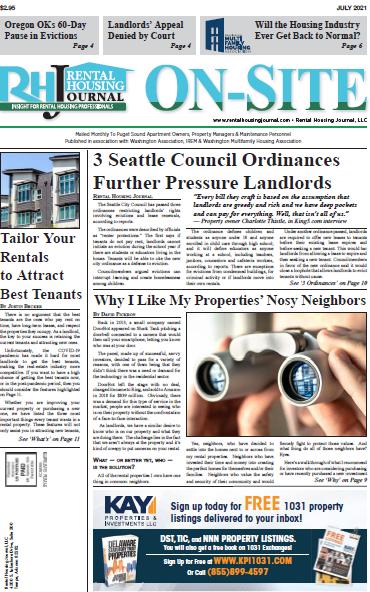 Seattle On-Site Rental Housing Journal July 2021