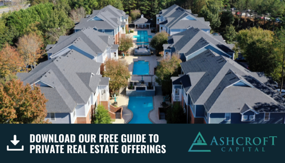 """#2. Your Gains Can Be Deferred If you sell a property that you've invested in and put the proceeds towards purchasing a similar property, your capital gains taxes can be deferred to a later date, which is called a 1031 tax-deferred exchange (3). During this process, a qualified intermediary will hold the proceeds from the sale until the money can be transferred to the other property's seller. Engaging in a 1031 allows you to avoid the 15-20% long term capital gains tax rate (5). #3. Can Be Used As Hedge Against Inflation Over time, the value of a dollar increases as a result of inflation. While the value of currency will invariably increase over time, the rate of inflation isn't always consistent. As inflation rises, the cost of everything goes up, including real estate (2). When property values increase, the property owner can charge more for rent, which ensures a higher revenue stream. By keeping pace with inflation, you gain an advantage that is difficult to obtain with stock market investments. It's never too early to start generating passive income. Placing some of your money into multifamily private placements could help you balance your portfolio and reduce the potential for losses. To assist you on this journey, download this free 20-page guide to Understanding Real Estate Private Placements. 1. Investopedia. """"Reasons to Invest in Real Estate vs. Stocks"""" 2. Forbes. """"How Buying a House Can Hedge Against Inflation."""" 3. Internal Revenue Service. """"IRS 1031 Exchange."""" 4. Zillow. """"Recovery Added $11.3 Trillion to U.S. Housing Value in the 2010s."""" 5. Investopedia. """"1031 Exchange Rules: What You Need to Know."""" DISCLAIMER: Ashcroft Capital LLC is not an investment adviser or a broker-dealer and is not registered with the U.S. Securities and Exchange Commission. The information presented in this email should not be used as the sole basis of any investment decisions, nor is it intended to be used as advice with respect to the advisability of investing in, purchasing or"""