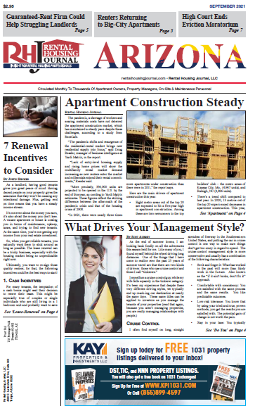 Arizona Rental Housing Journal September 2021 helpful useful information for landlords and property managers