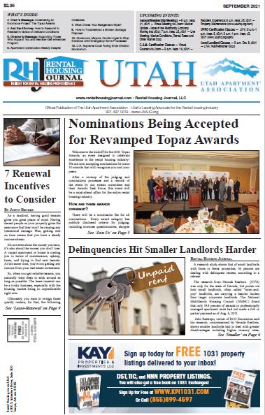 Utah Rental Housing Journal for September 2021 helpful, useful information for rental property owners