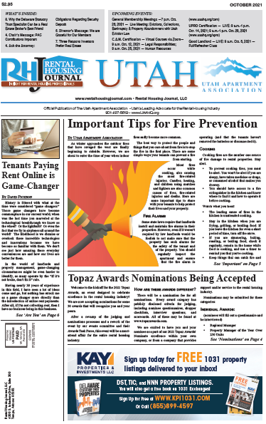 Utah Rental Housing Journal October 2021 helpful, useful content for rental property owners and managers